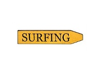 Living & Giving Classic Street Plaque Surfing Yellow 45x10cm